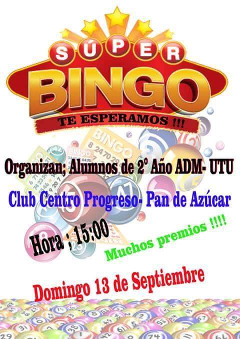 Super Bingo en Club Centro Progreso a beneficio de estudiantes UTU Pan de Azúcar